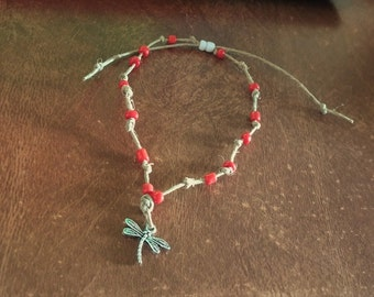 Hemp Anklet Bracelet 9 1/2 Inches Red Glass Seed Beads Dragonfly Charm Sliding White Seed Bead Closure Handmade Natural Tan Hemp Surfer