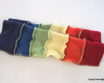 Arm Warmers, Fingerless Gloves with Thumb Holes, Elbow Length, Rainbow Colors, Boho, Festival Wear