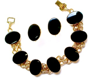 Vintage Black Onyx Gemstone Bracelet Earrings SET Jewelry Gold Filled