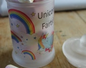 Unicorn Fart jar sniggers! Glass Jar with unicorns and rainbows to fill with whatever you fancy! Cotton wool skittles marshmallow