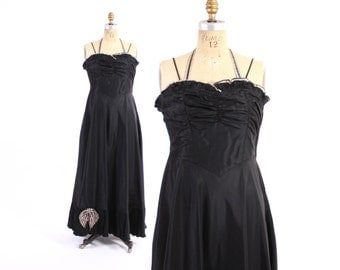 Vintage 40s EVENING GOWN / 1940s Black Ruffled Halter Party Dress with Striped Bow & Trim M