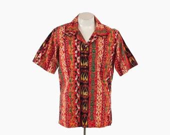 Vintage 60s HAWAIIAN SHIRT / 1960s Men's Red Tribal Tropical Print Cotton Aloha Shirt M