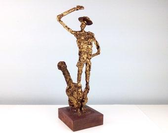 Cold Cast Bronze Brutalist Sculpture of a Dancing Man and Guitar, Modernist Design