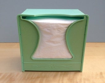Scott Paper Company Turquoise Plastic Napkin Dispenser / Chester Pennsylvania / Napkin Holder / 1950s Aqua Blue Kitchen Storage