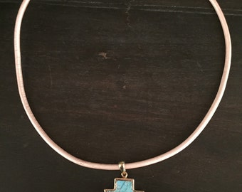 Turquoise Arrow Leather Necklace