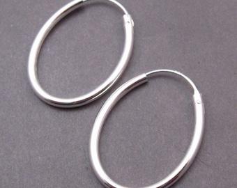 Sterling Silver Interchangeable Oval Hoop Earrings, Silver Hoop Earrings, Sterling Silver Earrings, Charm Earrings