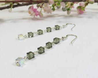 Swarovski Cubes & Sterling Earrings, Delicate Gray Swarovski Crystal Black Diamond and AB Cubes w Sterling Earrings, Grey Sparkly Earrings