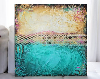 TEXTURED Abstract Painting Original 24x24 Acrylic on Canvas. Teal Aqua Sand Gold Fine Art by Maria Farias