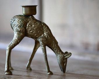 Vintage Brass Deer Candle Holder