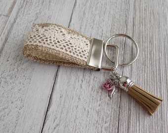 Key chain key fob with boho lace and flower charms, key chain, mini key fob, fabric key chain
