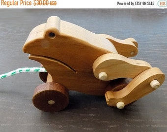 25% store sale Frog Mechanical Wood  Pull Toy