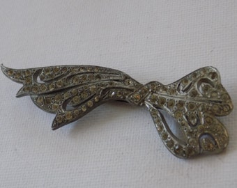 Antique Art Deco brooch, 1920's pot metal and rhinestones bow brooch,collectible vintage jewelry