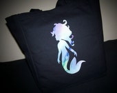 Natural Canvas Mermaid Tote Bag , One of a Kind Market Bag, Carryall
