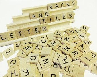 Scrabble Game Tiles and Racks - Complete Vintage 1989 Wood Set Pieces
