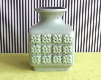 East German Pottery VEB Haldensleben Aqua Green Square Vase