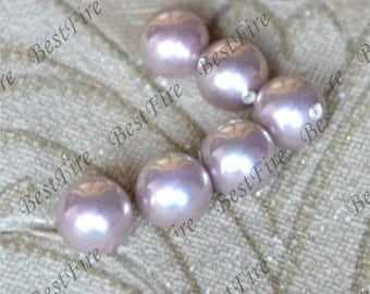 2pcs 12mm shell Pearl Pendant, Round purple South Seashell Pearl ,Half Hole Pearl for Earrings Brooch Ring Pendant