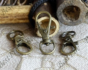 10 pcs of Antique Brass Swivel Lobster Claw Clasps Snap Clips Hook for wristlet , key chain clasp