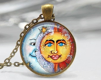 GlassTile Necklace Sun and Moon Necklace Glass Tile Jewelry Celestial Jewelry Sun Jewelry Moon Jewelry Silver Jewelry Black Jewelry