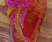 40g Light Red Aura Quartz Crystal Titanium warped in Gold and Pink wire.