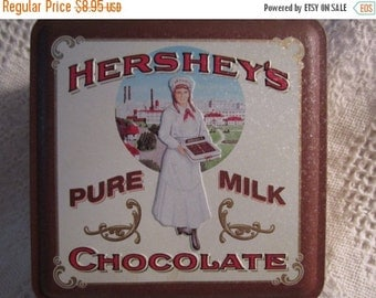 20% OFF SALE Vintage HERSHEY Chocolate Tin Container with Vintage Candy Clerk Brown Cream Americana Advertising