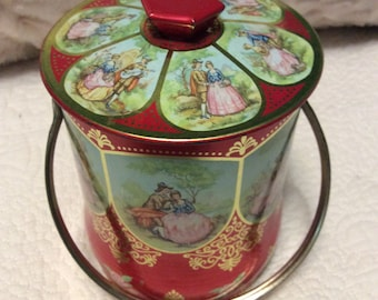 Vintage Red Romantic Red Tin Container with Knob and Handle England 1960s