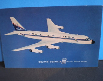 Vintage Unused Delta Air Lines Postcard - Delta's Convair 880 - World's Fastest Jetliner