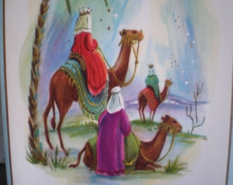 Vintage Mid Century Unused Christmas Greeting Card - Three Wise Men