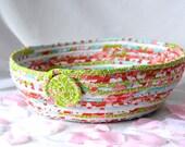 Unique Easter Basket, Handmade Fabric Basket, Modern Red and Aqua Bread Basket, Lovely Red and Aqua Fruit Bowl, Napkin Bin
