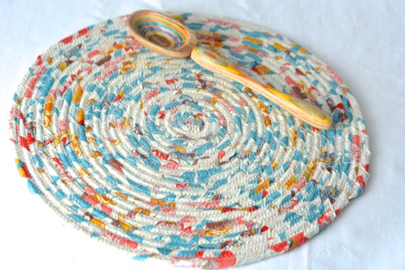 "Summer Aqua Trivet, Pretty Desk Accessory Mat, Homemade Trivet, Handmade Peachy Table Topper, Modern Mug Rug,  12"" Hot Pad"