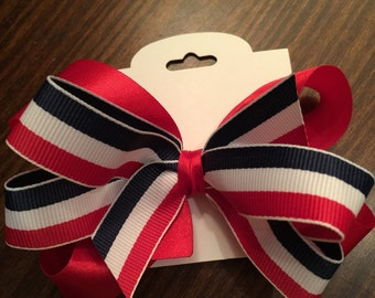 Red, White and Blue Boutique Bow - Flag Bow - Patriotic Bow