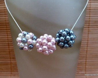 Pearl Trio Beaded Ball Necklace – Pink, Slate and Cream