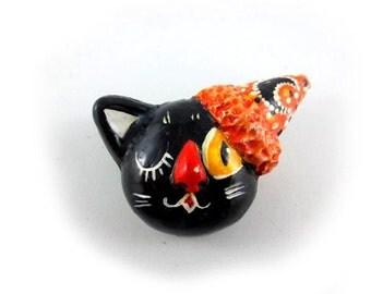 Boo Cat Black Cat Resin Pin Brooch Party Halloween