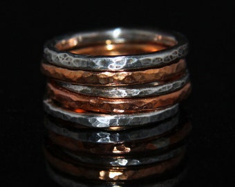 Hammered Fine Silver and Copper Five Stack Rings