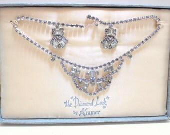 1950 Set- Demi Parure- Kramer Rhinestone Set- Blue Choker & Earring- The Diamond Look- 2 Piece Set- Bib Necklace- Clip Earring- Original Box