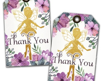 Flower Fairy Thank You Tags, Favor Tags, Gift Tags, Instant Download, Print Your Own