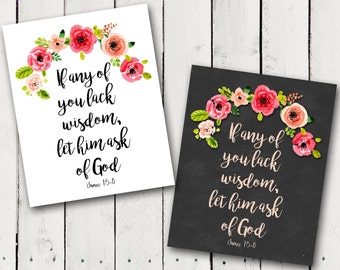 "2017 LDS Young Women theme print ""If any of you lack wisdom, let him ask of God"" Instant Download"