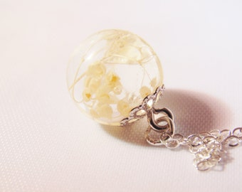 Real Flower Necklace, Dewdrop, Resin Dewdrop, Dainty Necklace, Wishes on the Wind