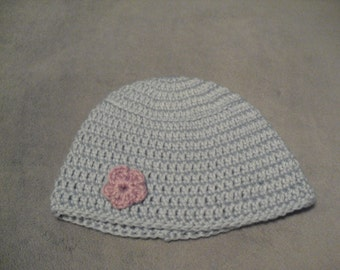 Blue baby cap with pink flower