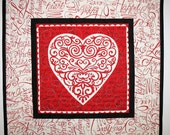 Valentine Table Topper, Hearts, Love, Romance,Swirls in red. quilted, fabric from Moda