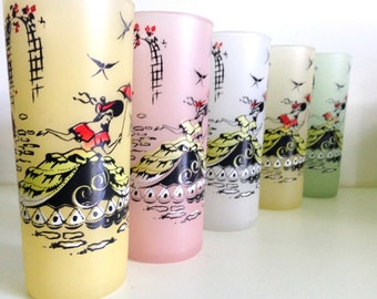 Gay Nineties Frosted Iced Tea Glasses w/ southern belles print, tall tumblers in pastel colors