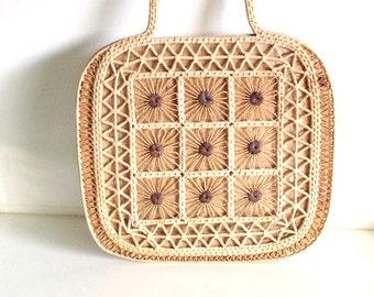 Jute, Sisal & Rope Tophandle Handbag   Boho vintage chic macrame style straw purse