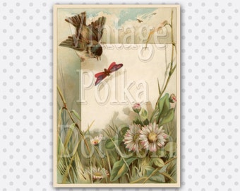 Vintage Clip Art Victorian Bird Butterfly Daisies Graphic Beautiful Pastel Graphic Digital Scrapbooking Printable