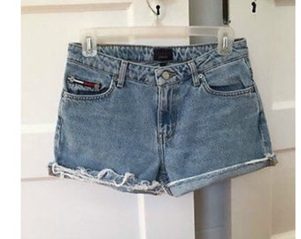 Vintage 80s 90s Revival Grunge light Blue Tommy Hilfiger Denim Jean Cut Off Festival Shorts 27