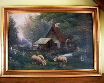 c. 1800's Oil Painting - Farm with Sheep - Millrose - Oil on Canvas