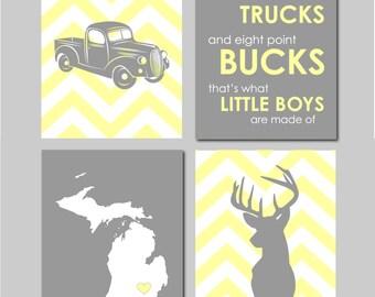 Baby Boy Nursery Decor Deer Antler Rustic Nursery Country Nursery Quote Monogram Set of 4 Prints Boy Playroom Boy Bathroom Hunting Bedroom
