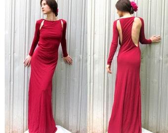 H HALSTON Evening Gown Dress Burgundy Long Sleeve Backless Size 4