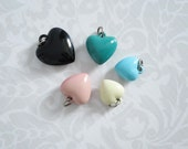 Five Vintage Puffy Heart Charms  /  50s Kitsch Charm Bracelet Heart Charms  /  Assemblage Supply Kawaii Puffy Hearts