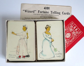Antique Wizard Fortune Telling Cards, Milton Bradley 1908 Fortune Game, Vintage Halloween Fortune Teller, Wizard Fortune Telling Cards