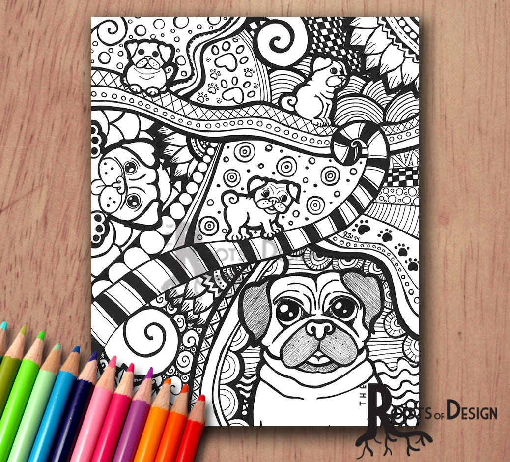instant download coloring page pug dog art print zentangle