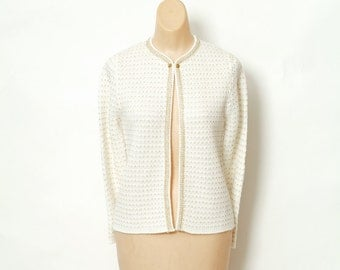 Vintage 50s sweater / Pin up Sweater / Retro / Button up Sweater / 50s cardigan / Cream Sweater / Vintage Cream Cardigan / 50s Sweater